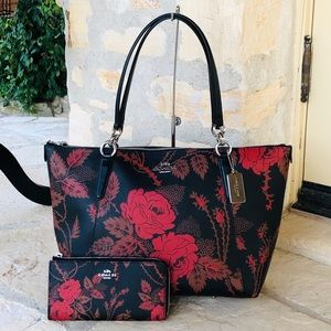 NWT Coach thorn roses lg Ava tote handbag&wallet